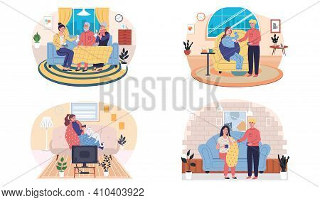 Set Of Illustrations About Joint Pastime On Self-medication. People Are Treated During Illness At Ho