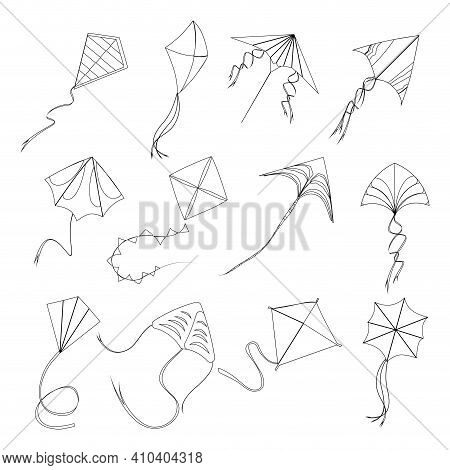 Kite Fly Linear Style To Sankranti Makar, Linestyle Stroke Kids Toys Various Form And Shape, High Ou