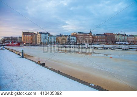 Finland, Helsinki, February 26, 2021 Spring Panorama Of Helsinki, View Of The Katajanokka And Krunun