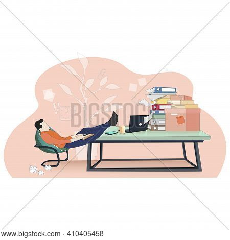 Lazy Worker Careless At Workpalce, Procrastinate Concept. Vector Lazy Worker Workpalce Procrastinate