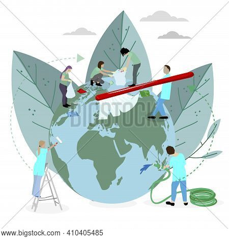 Volunteers Team Clean And Wash Planet From Plastic And Rubbish. Global Teamwork Care For World, Thro