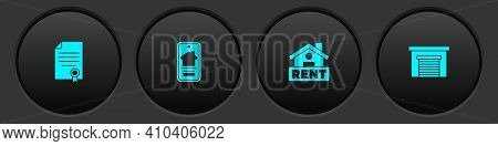 Set House Contract, Online Real Estate House, Hanging Sign With Rent And Garage Icon. Vector