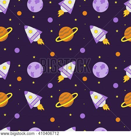 Space Rocket And Planets With Stars On A Purple Background. Space Exploration. Travel To Space. Seam