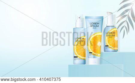 3D Realistic Vitamin C Orange Cream Bottle On Light Blue Background. Design Template Of Fashion Cosm