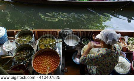 Bangkok, Thailand, 13 July 2019 Lat Mayom Floating Market. Traditional Classic Khlong River Canal, L