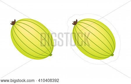 Vector Gooseberry Fruit Icon With Die Cut Outline For Game. Clipart Of Green-yellow Tasty Berry Isol
