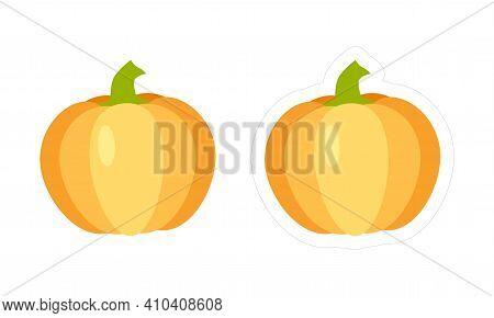 Vector Pumpkin Sticker With White Die Cut Outline. Cartoon Yellow-orange Vegetable Icon For Kids Gam