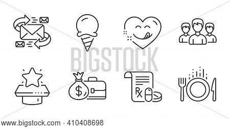 Group, Medical Prescription And Salary Line Icons Set. Food, E-mail And Ice Cream Signs. Yummy Smile