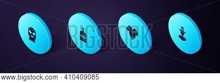 Set Isometric Mexican Man Sombrero, Poncho, Tequila Bottle And Wrestler Icon. Vector