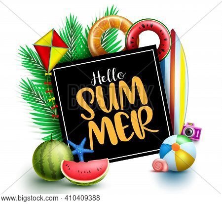 Hello Summer Vector Template Design. Hello Summer Text In Black Board Space With Palm Leaves, Beachb