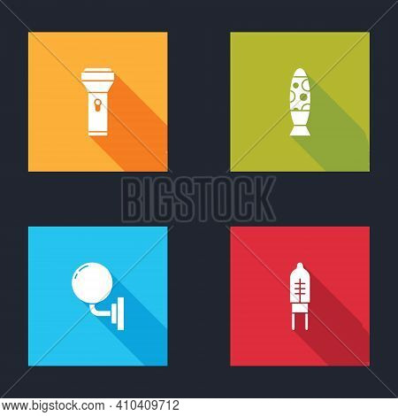 Set Flashlight, Floor Lamp, Wall Sconce And Light Emitting Diode Icon. Vector