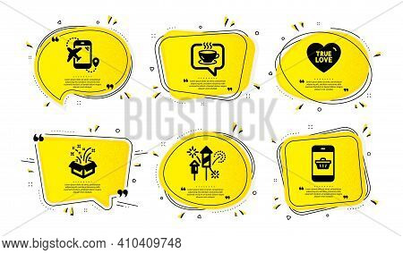Gift, Coffee And Flight Destination Icons Simple Set. Yellow Speech Bubbles With Dotwork Effect. Fir