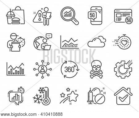 Science Icons Set. Included Icon As Trade Infochart, Chemical Hazard, Seo Gear Signs. Freezing, Netw
