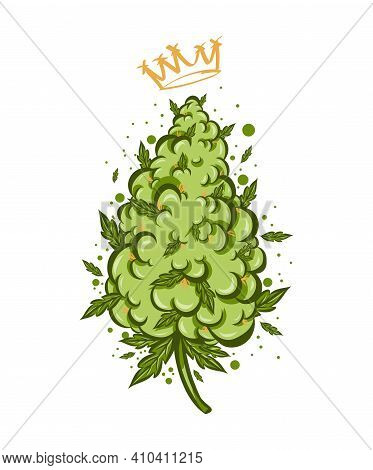 Cute Colorful Marijuana Weed Bud With Cannabis Vape.vector Flat Cartoon Character Illustration Icon