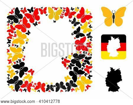German Geographic Map Stencil Mosaic. Stencil Rounded Square Collage Composed Of Butterfly Elements
