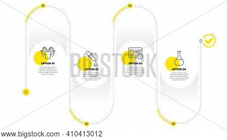 Chemistry Pipette, Hold T-shirt And Web Timer Line Icons Set. Timeline Process Infograph. Chemistry