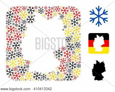 Germany State Map Subtraction Mosaic. Hole Rounded Rectangle Collage Composed From Snowflake Items I