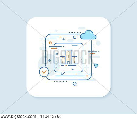 University Campus Line Icon. Abstract Vector Button. Apartments Sign. Architecture Buildings Symbol.