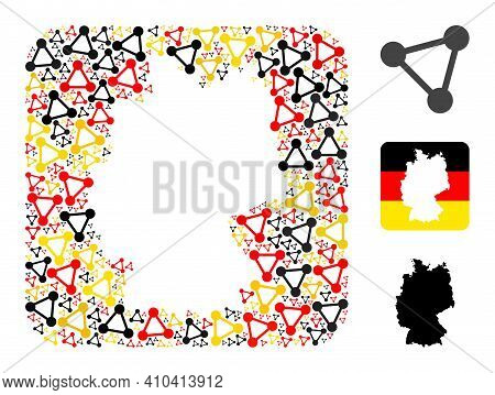 Germany State Map Subtraction Mosaic. Subtraction Rounded Square Collage Composed From Triangle Mesh