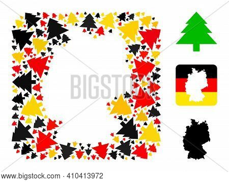 Germany Map Stencil Mosaic. Stencil Rounded Square Collage Composed From Fir Tree Elements In Differ