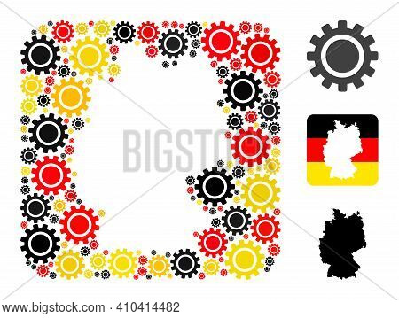 Germany Geographic Map Stencil Mosaic. Stencil Rounded Square Collage Formed Of Cog Icons In Variabl