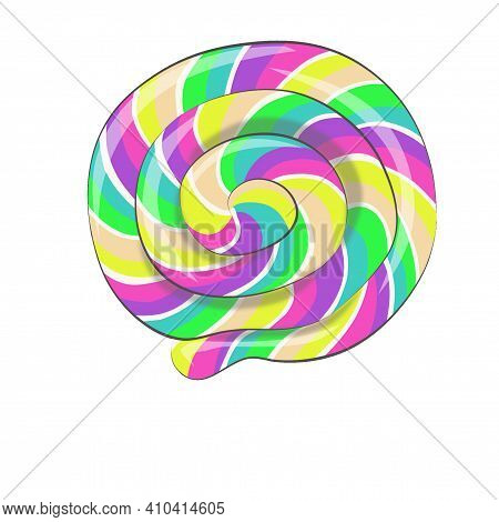 On A White Isolated Background Sweetness - Lollipop With Bright And Multi-colored Patterns, Yellow,
