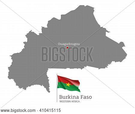 Silhouette Of Burkina Faso Country Map. Gray Editable Map With Waving National Flag And Ouagadougou