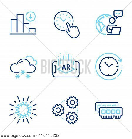 Science Icons Set. Included Icon As Decreasing Graph, Snow Weather, Time Management Signs. Augmented