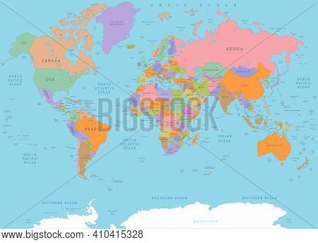 Colored Detailed Political World Map. Political Colored Physical Topographical Map With Countries Bo