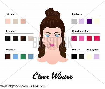 Women Color Types Analysis - Clear Winter Type. Characteristics Of Colortype And Best Palette For Ma