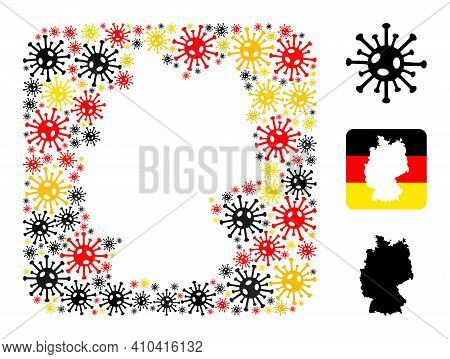 German Geographic Map Stencil Mosaic. Stencil Rounded Square Collage Designed Of Coronavirus Items I