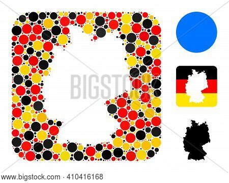 Germany Geographic Map Hole Mosaic. Hole Rounded Square Collage Designed With Filled Circle Elements