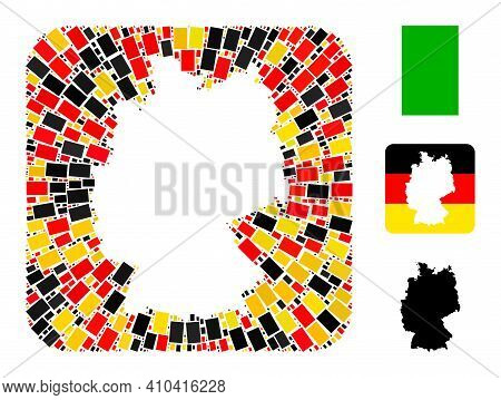 German Map Stencil Mosaic. Stencil Rounded Rectangle Collage Created With Filled Rectangle Elements