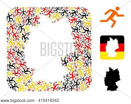 German Map Hole Mosaic. Hole Rounded Square Collage Designed Of Running Man Icons In Variable Sizes,