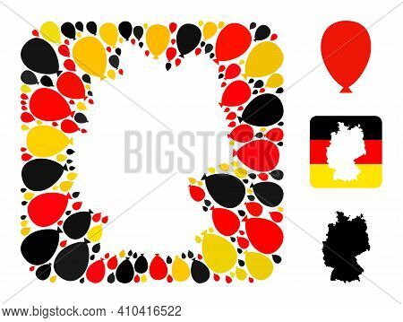 Germany Map Subtraction Mosaic. Subtraction Rounded Square Collage Composed With Celebration Ballon