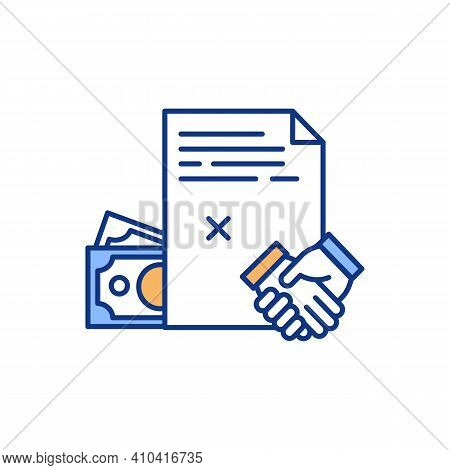 Financial Agreement Rgb Color Icon. Mutual Obligations Creation. Contract Between Two Parties. Legal