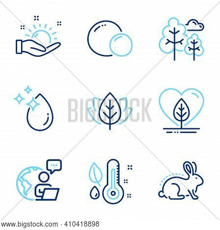 Nature Icons Set. Included Icon As Local Grown, Sunny Weather, Thermometer Signs. Animal Tested, Org