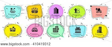Buildings Icons Set. Speech Bubble Offer Banners. Vector Coupon Badge. Included Icon As Lighthouse,
