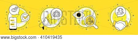 Check Eye, Winner And Support Line Icons Set. Cell Phone, Megaphone And Deal Vector Icons. Save Plan