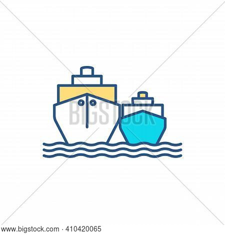 Waterborne Vessels Rgb Color Icon. Maritime Transport. Seagoing Boats, Ships. Vessels Designed For W