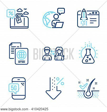 Business Icons Set. Included Icon As Anti-dandruff Flakes, Low Percent, Passport Document Signs. Peo