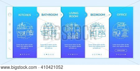 Cleaning Area Onboarding Vector Template. Kitchen And Bathroom. Living Room, Bedroom And Office. Res