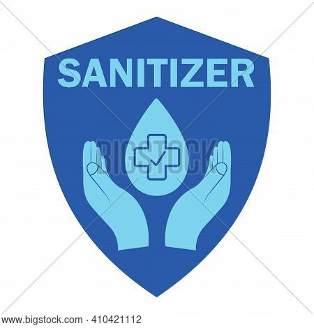Hand Sanitizer, Blue Color Icon. Sanitizer Symbol. Concept Of Hygiene, Cleanliness, Disinfection. Ha