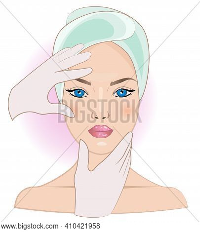 A Girl With Bare Shoulders, A Towel On Her Head, Hands In Medical Gloves, Cosmetology