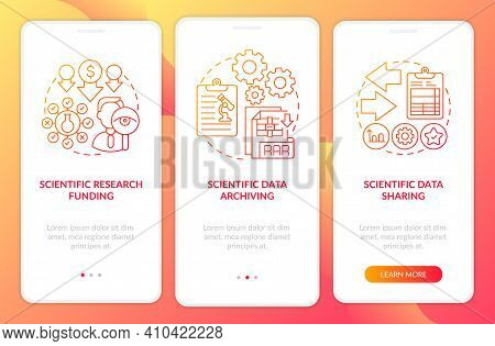 Scientific Research Components Onboarding Mobile App Page Screen With Concepts. Scientific Data Arch