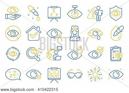 Optometry, Eye Doctor Line Icons. Medical Laser Surgery, Glasses And Eyedropper. Pink Eye, Cataract