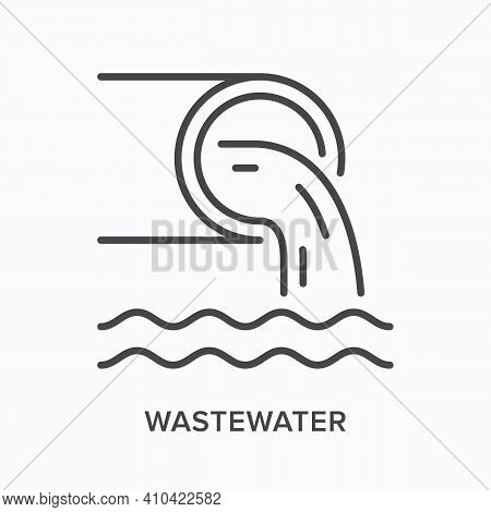Wastewater Flat Line Icon. Vector Outline Illustration Of Pipe And Dirty Water. Black Thin Linear Pi