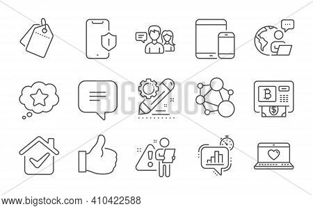 Sale Tags, People Talking And Statistics Timer Line Icons Set. Like, Web Love And Loyalty Star Signs