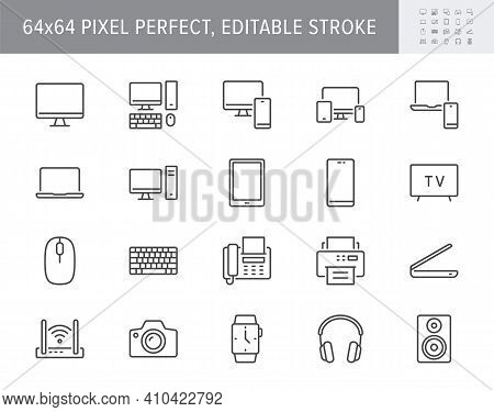Technology Line Icons. Vector Illustration Include Icon - Computer, Monitor, Laptop, Cellphone, Rout