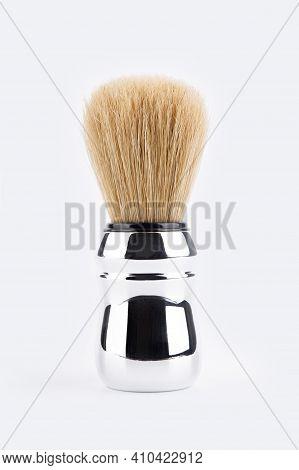 Shaving Brush. Shaving Brush With Chrome Handle And Natural Bristles Isolated On White Background. S